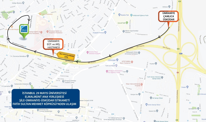 TEM Otobanı (E80) Edirne/Kavacık İstikametinden İstanbul 29 Mayıs üniversitesine gelişi gösteren yol tarifi