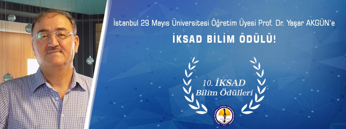 İstanbul 29 Mayıs Üniversitesi Öğretim Üyesi Prof. Dr. Yaşar Akgün'e İKSAD Bilim Ödülü