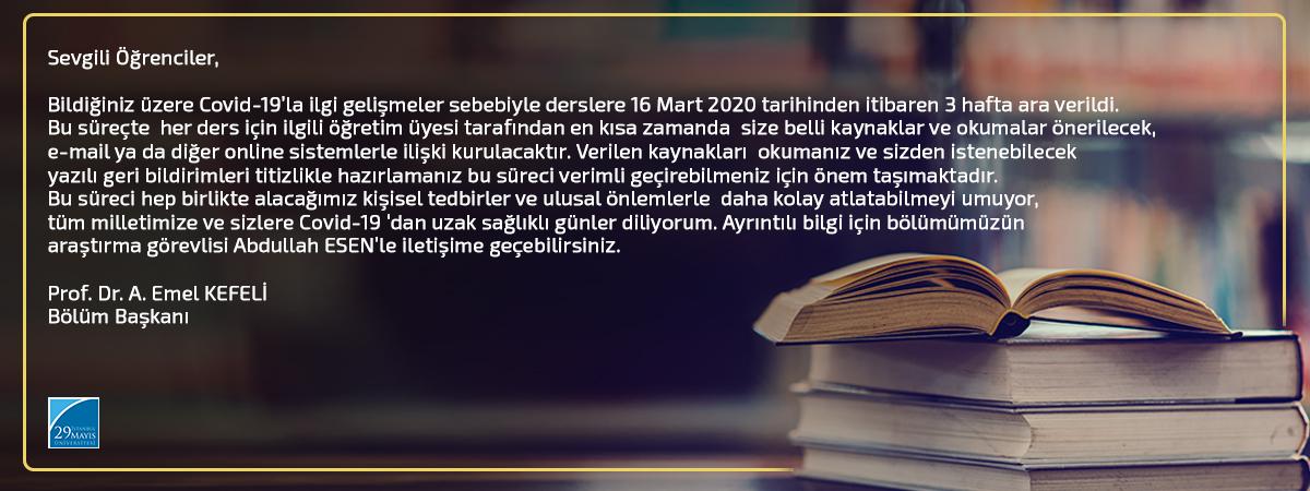 Türk Dili ve Edebiyatı Bölümü Öğrencilerine Duyuru - COVID-19