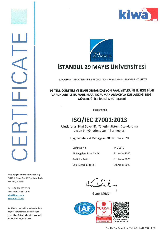 İstanbul 29 Mayıs Üniversitesi ISO 27001 Sertifikası